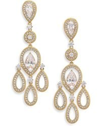 Adriana Orsini - Pavé Pear Chandelier Earrings/goldtone - Lyst