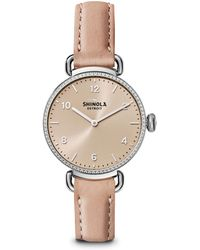 Shinola - The Canfield Diamond, Stainless Steel & Leather Strap Watch - Lyst