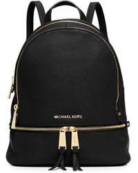 2b857106e034 MICHAEL Michael Kors - Women's Rhea Zip Leather Backpack - Black - Lyst