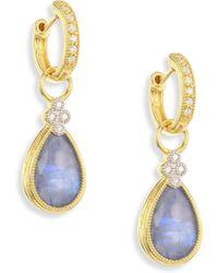 Jude Frances - Provence Diamond & Sapphire Rainbow Moonstone Doublet Pear Earring Charms - Lyst