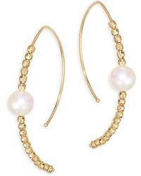 Mizuki - 14k Rose Gold & Pearl Marquis Hoop Earrings - Lyst