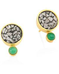 Shana Gulati - Tulum Ophelia 18k Goldplated Diamond & Green Onxy Studs - Lyst