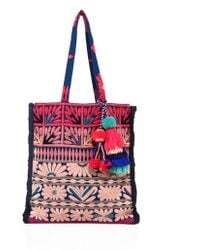 Figue - Samoa Floral-embroidered Canvas Tote - Lyst