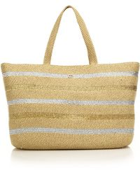 Eric Javits - Sinclair Striped Metallic Woven Squishee Tote - Lyst