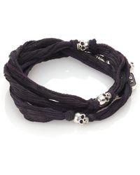 King Baby Studio - Sterling Silver & Silk Skull Wrap Bracelet - Lyst