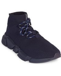 992de19924679 Balenciaga Perforated Monochrome Sneakers in Blue for Men - Lyst