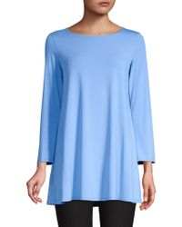Eileen Fisher - Wide-sleeve Ballet-neck Viscose Jersey Tunic - Lyst