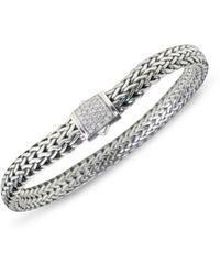 John Hardy - Classic Chain Diamond & Sterling Silver Small Bracelet - Lyst