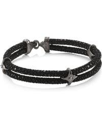 Stinghd - Men's Blackened Silver & Stingray Star Wrap Bracelet - Black Silver - Size 7.75 - Lyst
