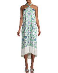 MESTIZA NEW YORK - Riviera Pamplona Embroidered Crepe Tile Dress - Lyst