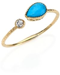 Jacquie Aiche - Turquoise, Diamond & 14k Yellow Gold Teardrop Waif Wrap Ring - Lyst