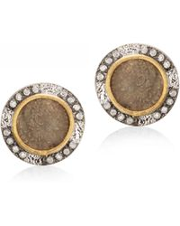 Coomi - Coin Diamond, 20k Yellow Gold & Sterling Silver Stud Earrings - Lyst