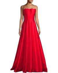 Basix Black Label - Ruffled Strapless Gown - Lyst
