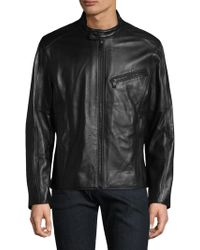 Andrew Marc - Gibson Leather Motorcycle Jacket - Lyst