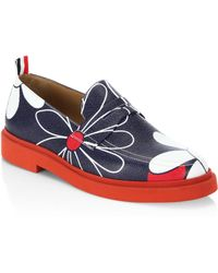 Thom Browne - Floral Print Leather Loafers - Lyst