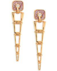 Plevé - Opus Pink Diamond & 18k Yellow Gold Egyptian Drop Earrings - Lyst