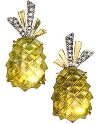 Alexis Bittar | Lucite & Crystal Pineapple Clip-on Earrings | Lyst