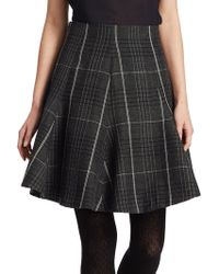 Dior - Check Wool Flare Skirt - Lyst