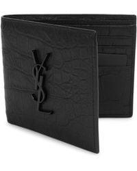 Saint Laurent - Croc-embossed Monogram Leather Wallet - Lyst
