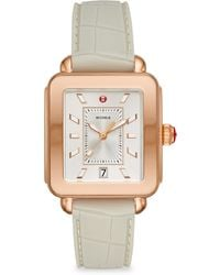 Michele Watches - Deco Sport Rose Gold-tone Stainless Steel & Silicone Strap Watch - Lyst