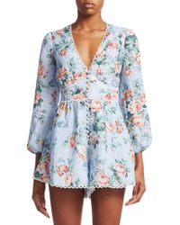 Zimmermann - Women's Bowie Floral Linen Long-sleeve Playsuit - Lilac Floral - Size 1 (4-6) - Lyst