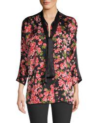 ESCADA - Niana Floral-print Silk Tie-neck Blouse - Lyst