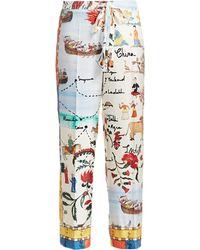 Oscar de la Renta - Women's Printed Silk Pajama Pants - Size Medium - Lyst