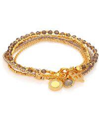 Astley Clarke - Biography Golden Opportunities White Sapphire, Smoky Quartz & Labradorite Silken Beaded Charm Bracelet - Lyst