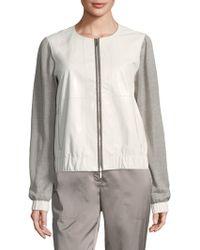 Lafayette 148 New York - Aviana Leather Knit Jacket - Lyst