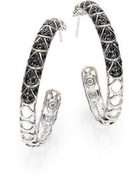 John Hardy - Naga Black Sapphire & Sterling Silver Cutout Lava Hoop Earrings/1.3 - Lyst