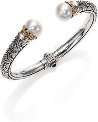Konstantino - Hermione 15Mm White Pearl, 18K Yellow Gold & Sterling Silver Cuff Bracelet - Lyst