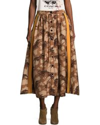 COACH - Horse Print Pleated Skirt With Side Panel - Lyst