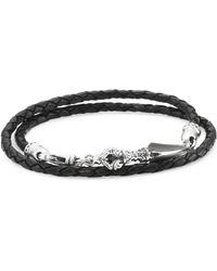 King Baby Studio - Sterling Silver & Leather Double-wrap Bracelet - Lyst