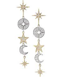 Sydney Evan 14k Yellow Gold, 14k White Gold & Diamond Celestial Drop Earrings - Metallic