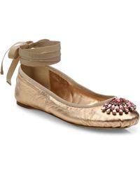 Jimmy Choo - Grace Crystal-embellished Metallic Leather Ankle-wrap Ballet Flats - Lyst