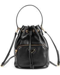 e4acff4d0abb Lyst - Prada Mini Nylon   Leather Bucket Bag in Black