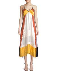 Tory Burch - Sasha Tiered Silk Midi Dress - Lyst