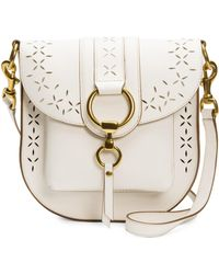 Frye - Ilana White Perforated Leather Saddle Bag - Lyst
