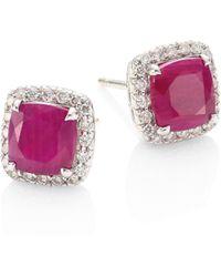John Hardy - Batu Classic Chain Diamond, Ruby & Sterling Silver Stud Earrings - Lyst