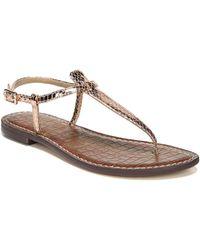 Sam Edelman - Gigi Rose Gold Boa Snake Print Leather Thong Sandals - Lyst