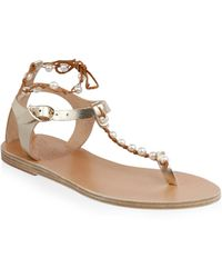 f7a3863bf9912 Ancient Greek Sandals - Chrysso Pearls Leather Sandals - Lyst