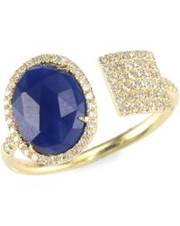 Meira T - Sapphire, Diamond & 14k Yellow Gold Wrap Ring - Lyst