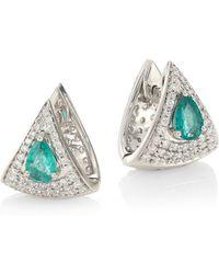 Hueb - Spectrum 18k White Gold, Diamond & Emerald Earrings - Lyst