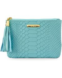 Gigi New York - Embossed Leather Small Zip Pouch - Lyst