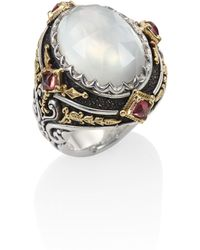 Konstantino - Nemesis Mother-of-pearl, Pink Tourmaline & 18k Yellow Gold Ring - Lyst