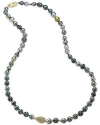 Jordan Alexander - 10-12mm Grey Tahitian Pearl, Diamond & 18k Yellow Gold Strand Necklace - Lyst