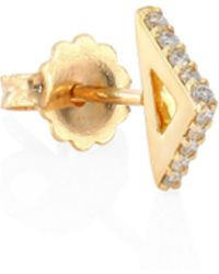 Paige Novick - Tplt Triangle Diamond & 18k Yellow Gold Single Stud Earring - Lyst