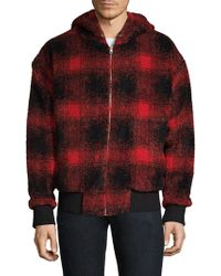 The Kooples - Hooded Plaid French Terry Jacket - Lyst