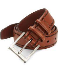 Saks Fifth Avenue - Collection Leather Zig-zag Trim Belt - Lyst