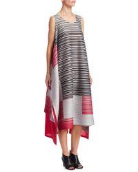 Pleats Please Issey Miyake - Striped Trapeze Dress - Lyst